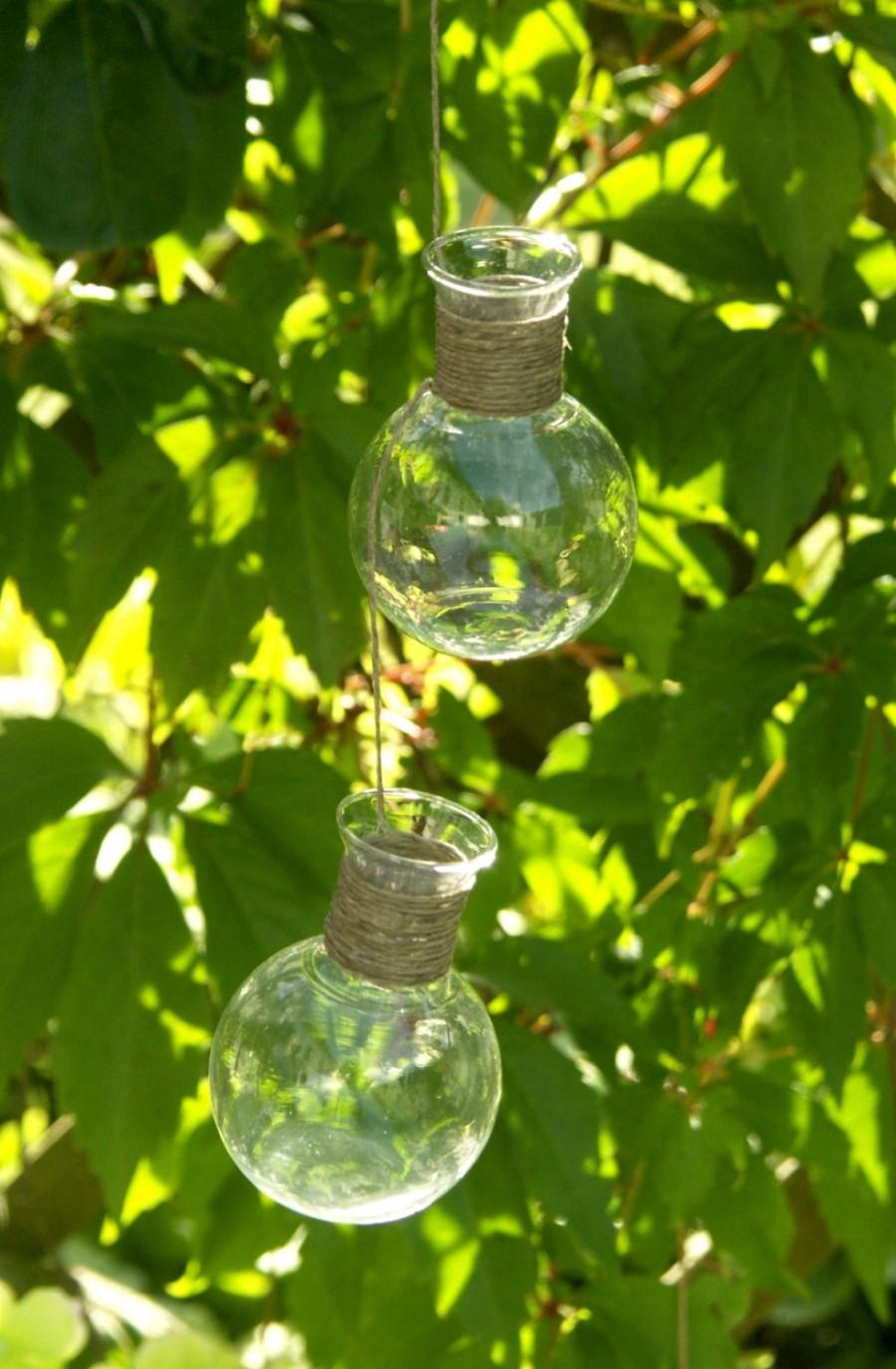 Свадьба - Two Hanging Glass Vases on a Strap