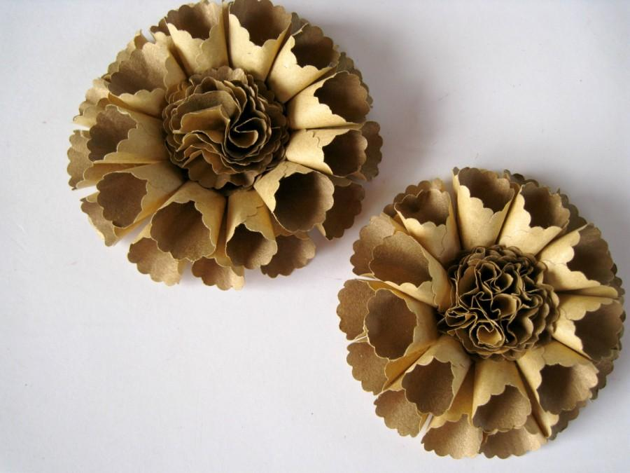 Set Of 2 Rolled Rosette Paper Flowers Small Gold Roses Eco