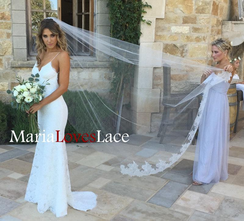 f8b34f66df6b 1 Tier Cathedral Lace Bottom Veil -French Chantailly Lace Cathedral Veil  With Raw Edge-Long Lace Wedding Veil Bridal Veil 617