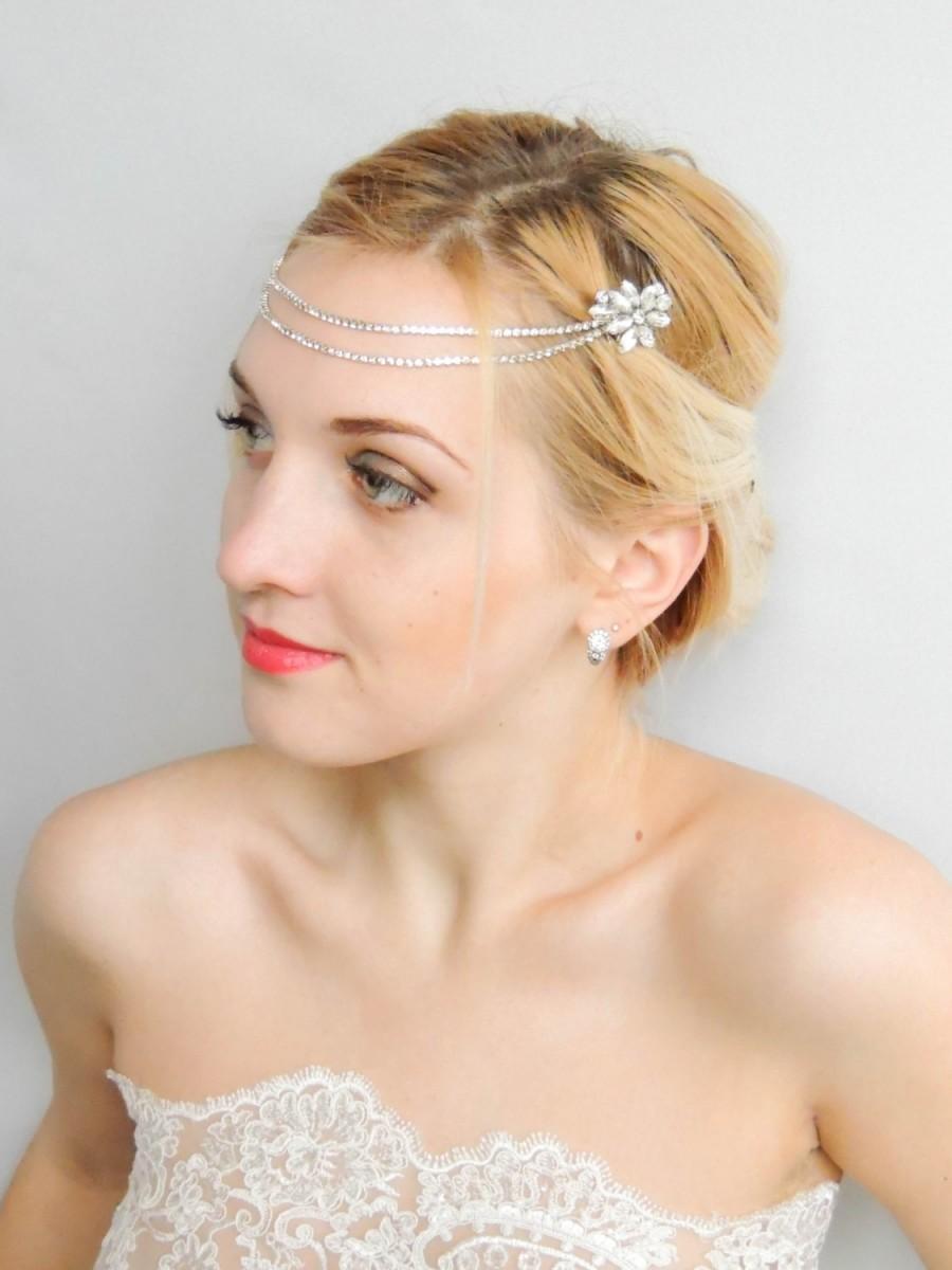 Свадьба - Bridal Headpiece,Art Deco Headpiece,Rhinestone piece,Hair Chain, Chain Headpiece,Wedding Hair ,Boho Head Piece