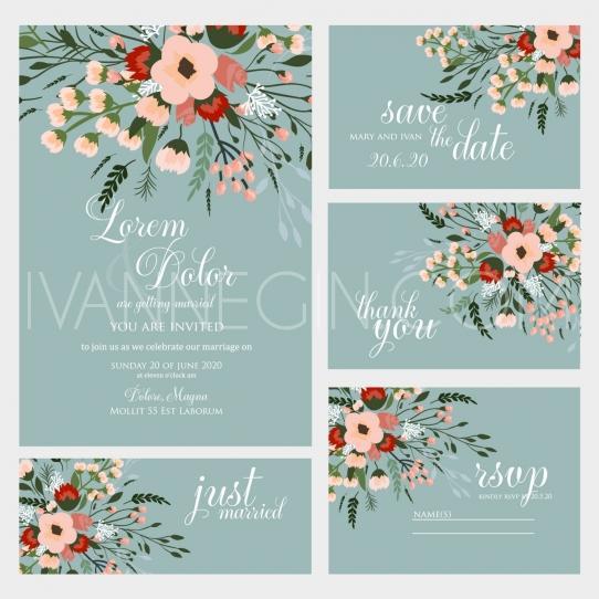 Mariage - Wedding invitation - Unique vector illustrations, christmas cards, wedding invitations and images designed by Ivan Negin
