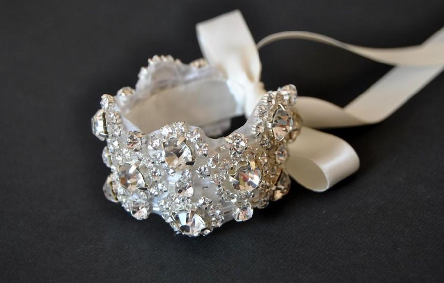 Crystal Bracelet Rhinestone Beaded Cuff Bridal Bridesmaid
