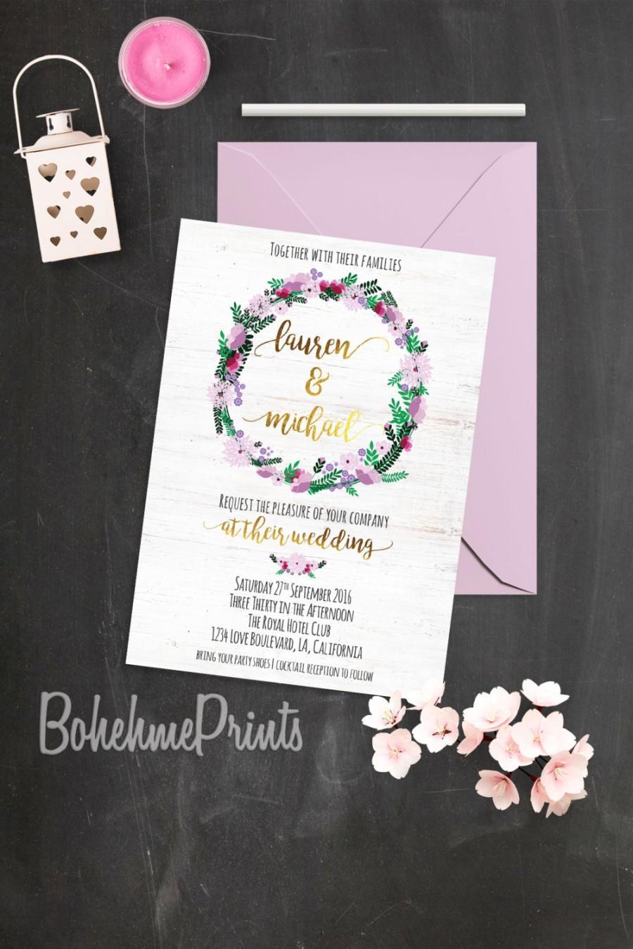 Mariage - Bohemian Wedding Invitation Boho Rustic Wedding Invitation Suite Customizable Wedding Invitation Floral Wreath Wedding Invitation Printable