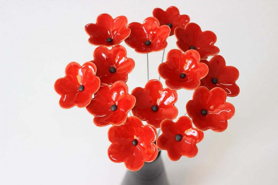 Hochzeit - Red Ceramic Anemone Flowers, Artificial Wildflowers, Plant Decor, Ceramic Flower, Wedding Bridal Bouquet, Home & Garden Décor, Romantic Gift