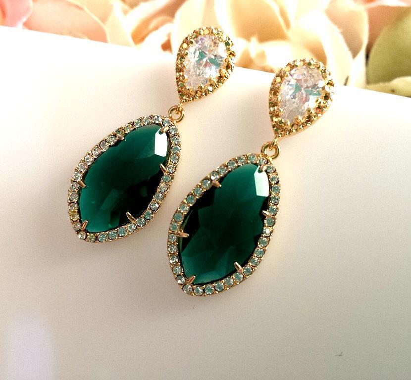 زفاف - Emerald Earrings, Gold earrings, CZ Earrings,Wedding Jewelry, Bridesmaid Gift, Bridal, Drop, Dangle, Stud Earrings, Christmas Gift