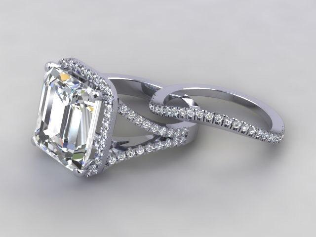 Свадьба - Emerald Cut Engagement Ring 18kt gold 11X13 Russian Diamond Simulate Center Stone D Flawless With Genuine Diamonds Shank Halo (Band Included