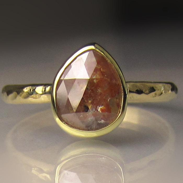 زفاف - 18k Gold Rose Cut Diamond Engagement Ring, Hammered Diamond Engagement Ring