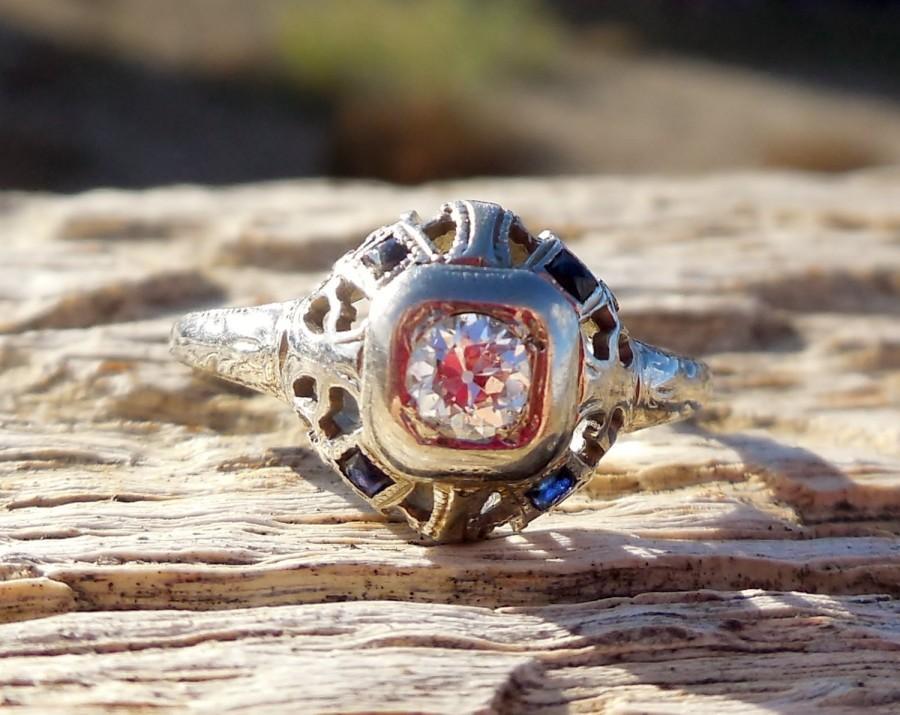 Mariage - Vintage Antique BELAIS .40ct Old European Cut Diamond Sapphire Unique Engagement Ring Art Deco 1920 18k White Gold