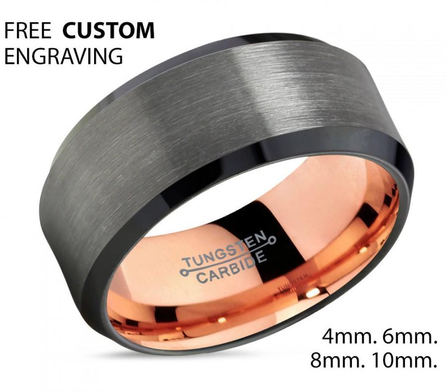Mariage - Gunmetal Tungsten Wedding Ban ,Rose Gold Gunmetal 10mm Tungsten Ring,Tungsten Carbide Ring,Anniversary Band,Comfort Fit,18k Rose Gold Ring
