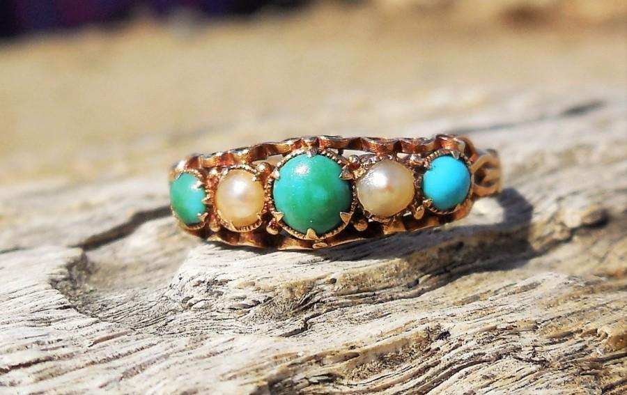Mariage - Vintage Antique Turquoise Pearl Unique Engagement Ring Victorian Georgian 15k Rose Yellow Gold