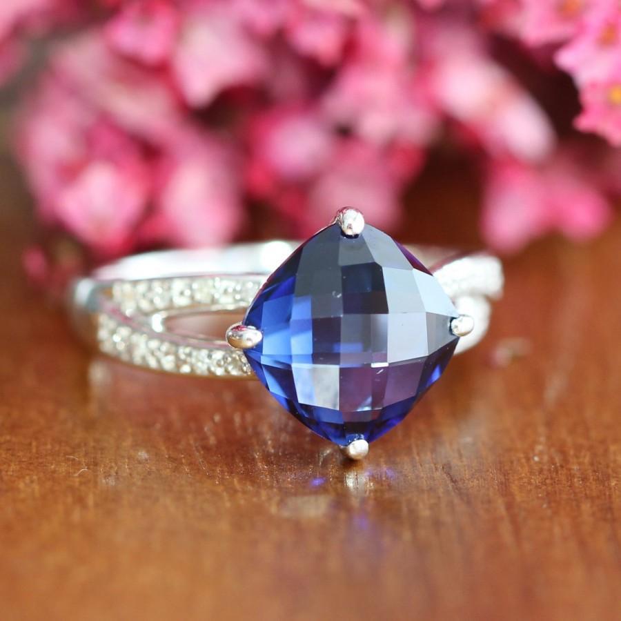 Свадьба - Cushion Sapphire Engagement Ring 925 Silver Diamond Wedding Band September Birth Stone Gemstone Anniversary Ring, Size 6.5 (Resizable)