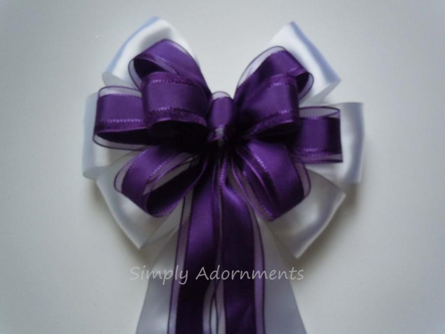 Mariage - Purple White Wedding Pew Bow White Purple Wedding Aisle Decoration Purple white Bridal Shower Decor Wedding Chair Bow  Birthday Party Decor