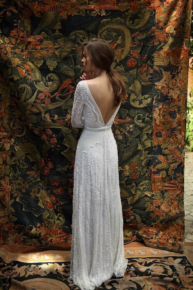 2016 Sexy Lace Long Sleeve Wedding Dresses Deep V Neck Open