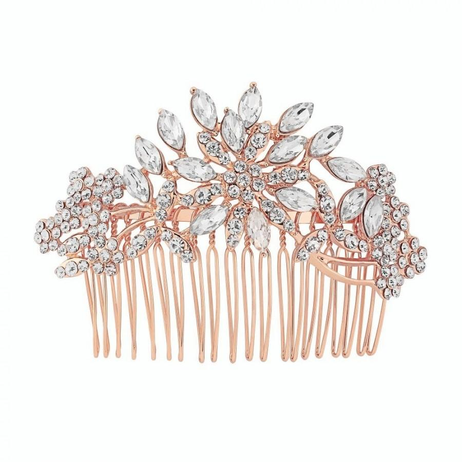 Mariage - Rose hair comb, rose gold hair comb, bridal rose gold headpiece, rose gold bridal hair comb, wedding rose gold hair comb,  rose gold comb
