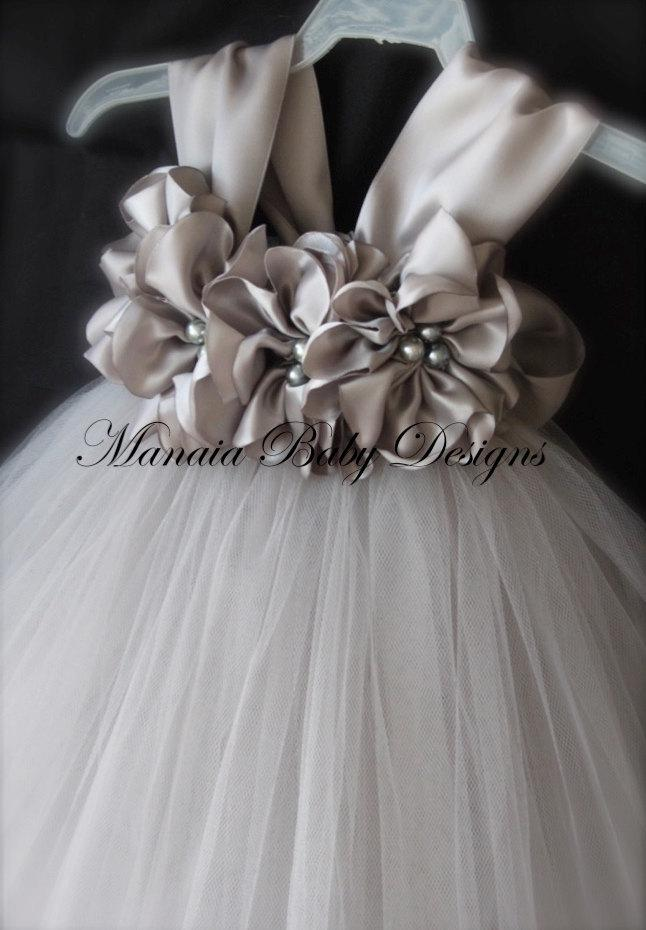 Mariage - COLOR OF DRESS Can Be Changed! / Grey Flower Girl Dress / Grey Flower Girl Tutu / Grey Dress