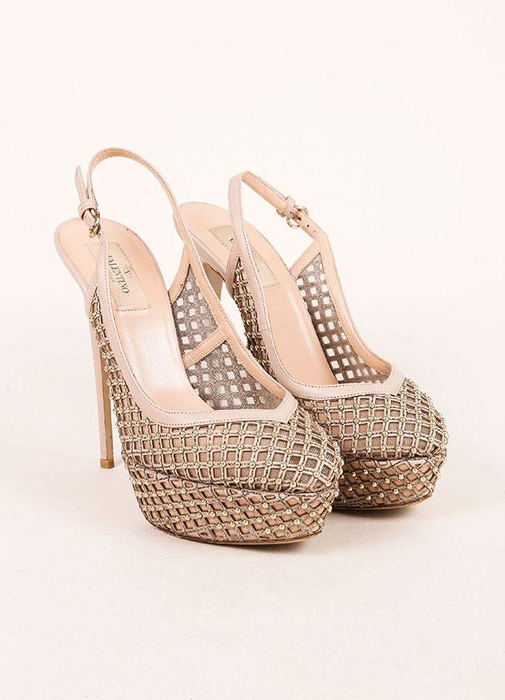Hochzeit - Nude And Silvery Gold Cage Mesh And Leather Slingback Pumps