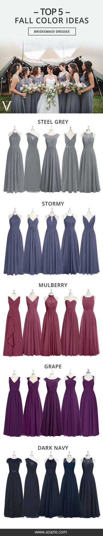 Hochzeit - Top 5 Fall Color Set (5 Shades * 6 Fabrics) - Bridesmaid Dress, Wedding, Wedding Gown, Grape, Stormy, Mulberry, Steel Grey, Dark Navy Chiffon, Mesh, Lace