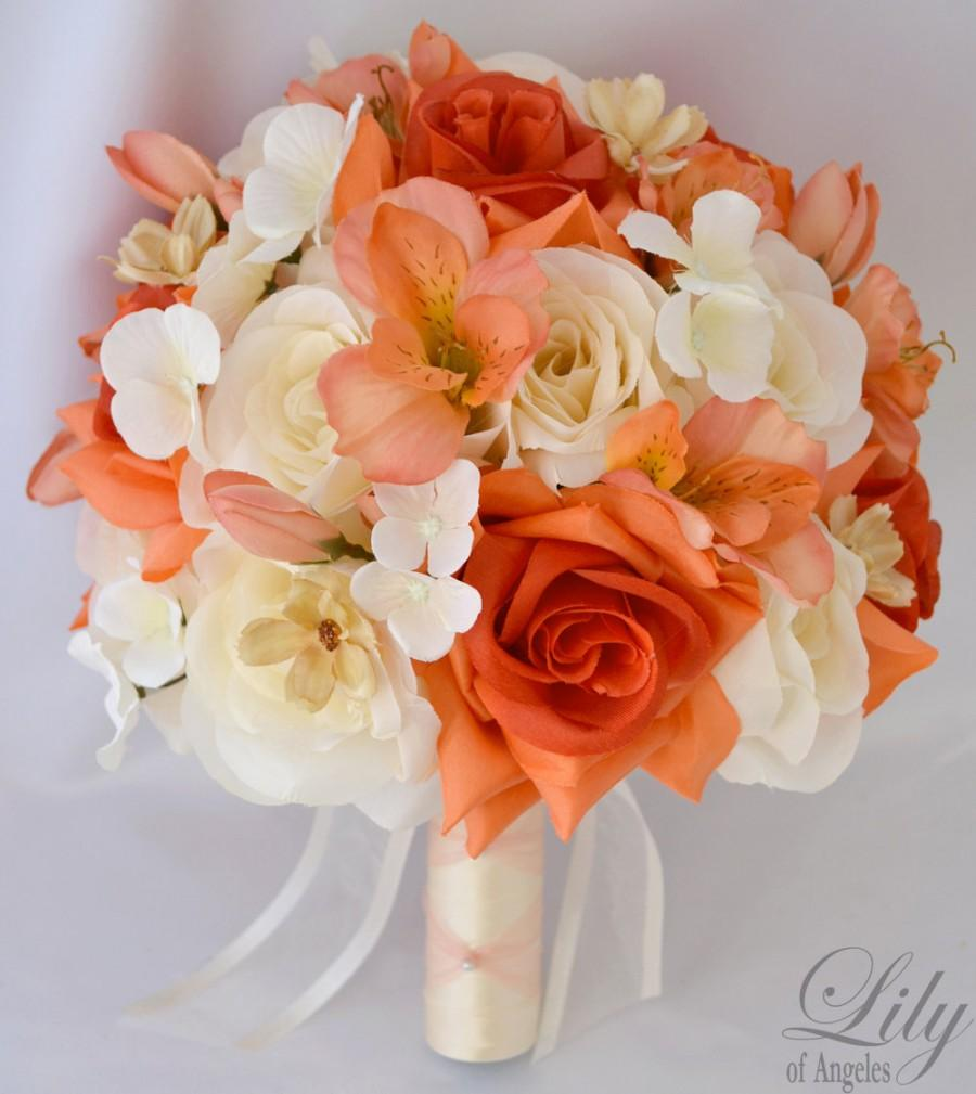 """Mariage - 17 Piece Package Wedding Bridal Bride Maid Of Honor Bridesmaid Bouquet Boutonniere Corsage Silk Flower CORAL ORANGE """"Lily of Angeles"""" IVOR05"""
