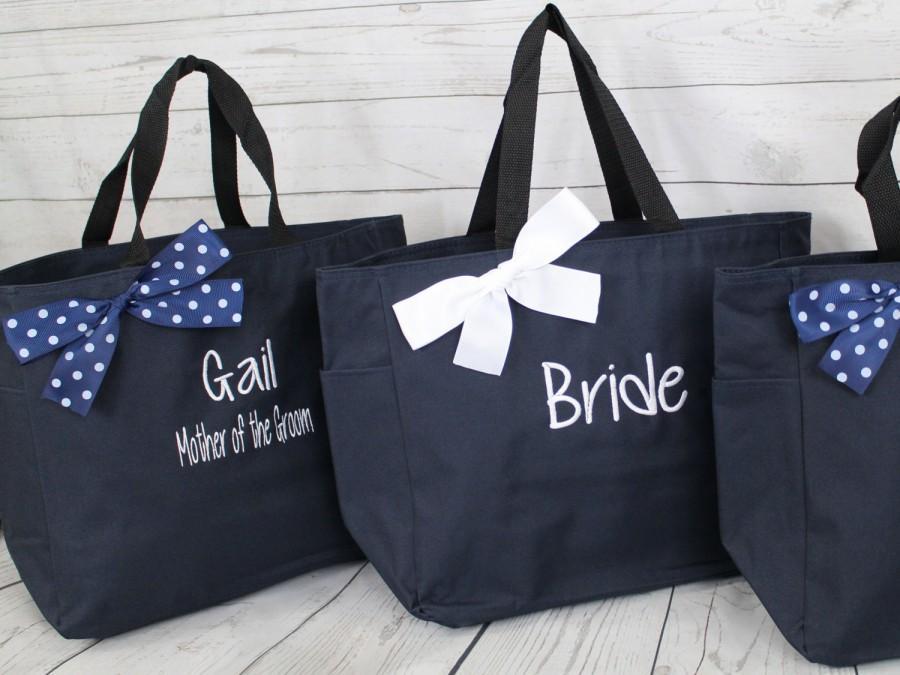 Hochzeit - 7 Personalized Bridesmaid Gift Tote Bags Monogrammed Tote, Bridesmaids Tote, Personalized Tote