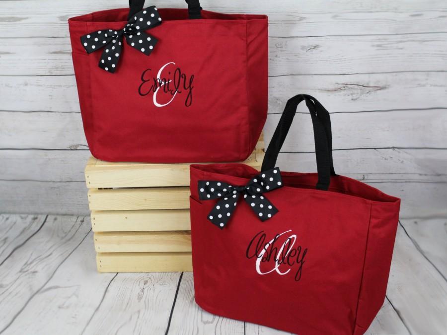 زفاف - 10 Personalized Bridesmaid Tote Bags, Embroidered Tote, Monogrammed Tote, Bridal Party Gift