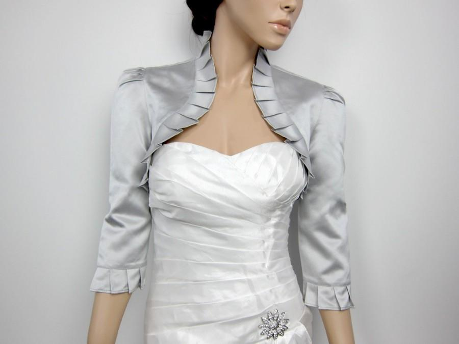 Mariage - Silver 3/4 sleeve satin wedding bolero jacket shrug