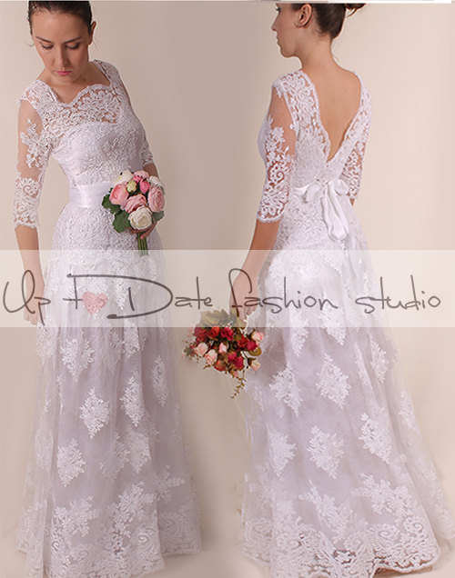 Mariage - Lace Plus Size /Vneck bаck /long wedding party/reception dress / Bridal Gown 3/4 sleeve