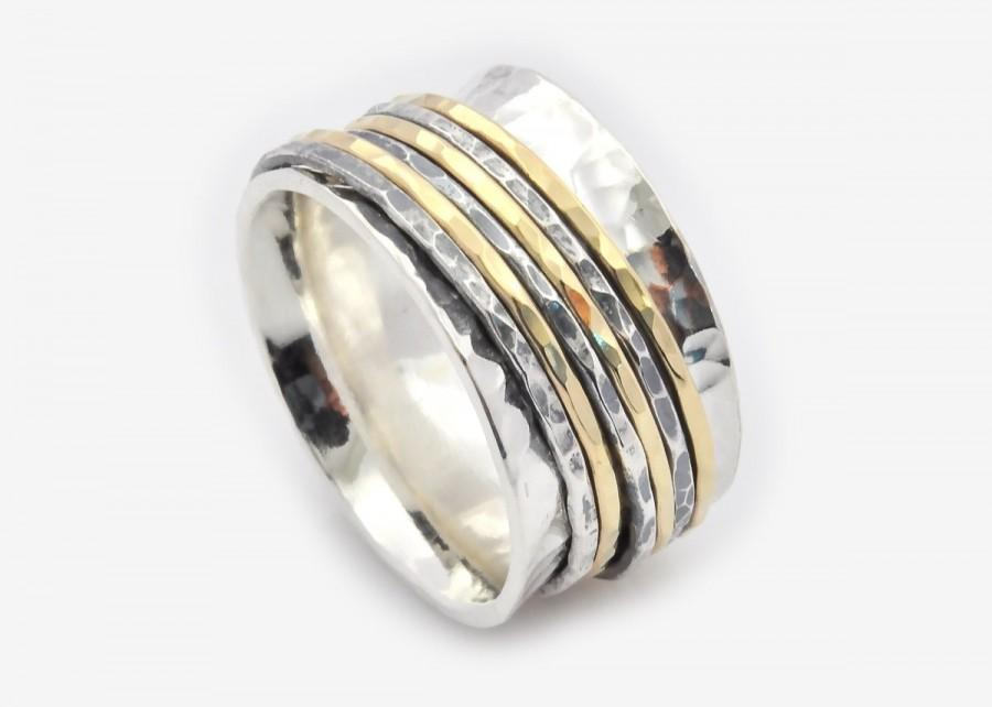 Wedding - Promise rings, Gold spinners, Wide Spinner Ring, Spinner Ring, Meditation Ring, Worry Ring, Fidget Ring, 6 Band Spinner, Unisex Spinner Ring