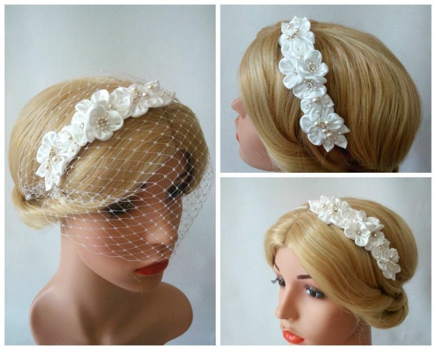 زفاف - Wedding Birdcage Veil Headband with Satin Flowers, Pearl and Flower Headband Bridal Birdcage Veil, Detachable Veil, Ivory Birdcage Veil