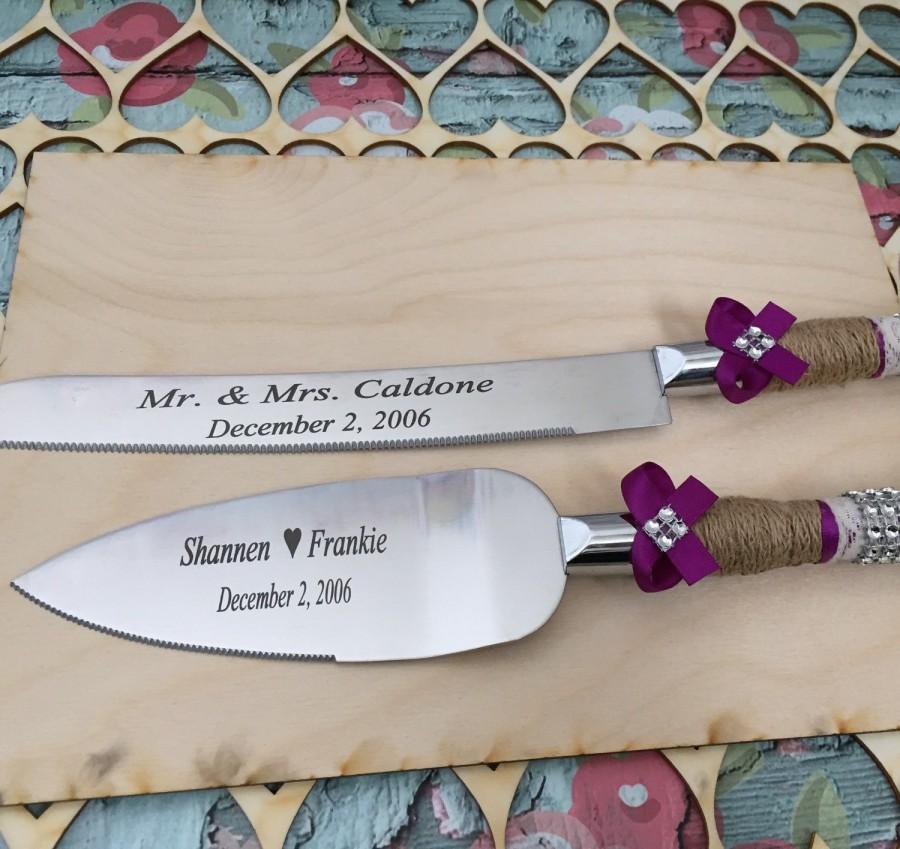 Personalized Wedding Cake Knife Set Burlap Knife Set Cake