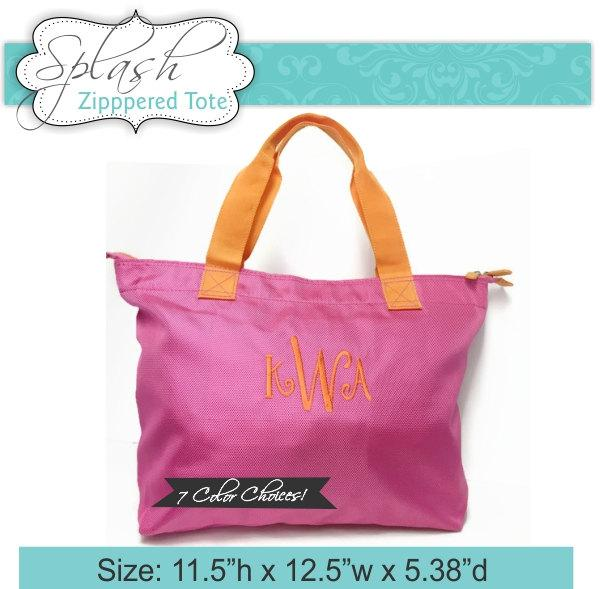Wedding - 8 Monogrammed Zippered Tote Bags Personalized Wedding Tote Neon Bag