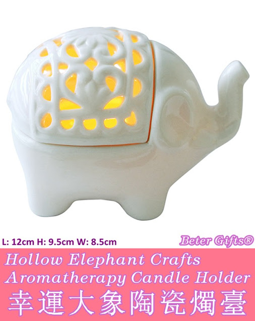 Wedding - Beter Gifts® Creative Hollow Ceramic Elephant Crafts Aromatherapy Candle Holder BETER-HH068