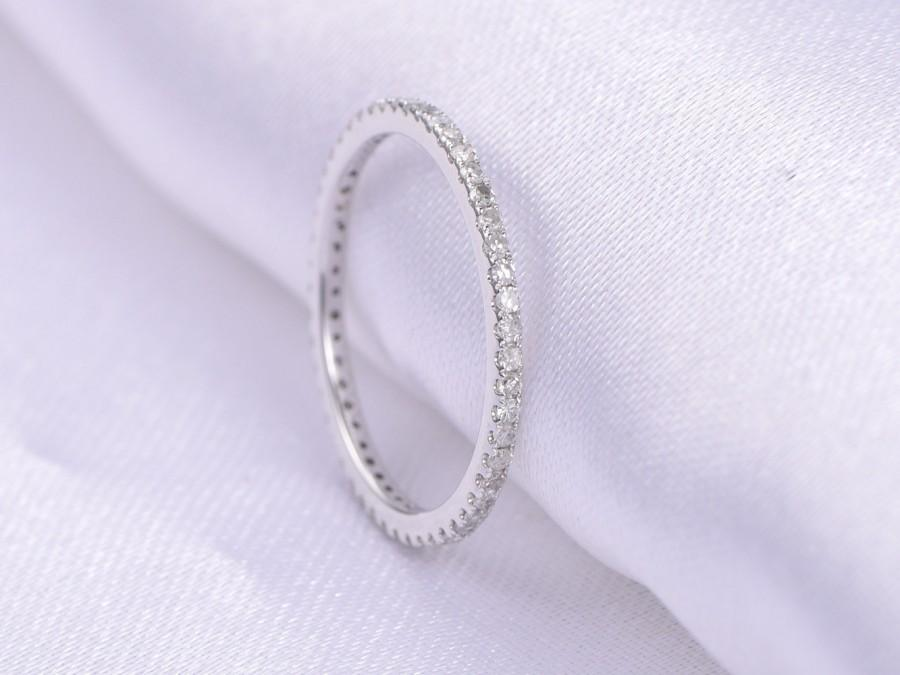Full eternity diamond thin wedding ring anniversary ring 14k white