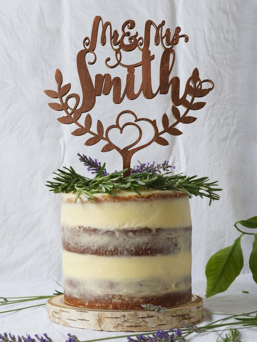 Wedding Cake Topper Custom Surname Personalized Surname Wood Cake