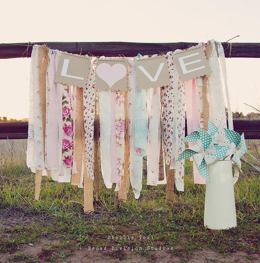 wedding banner love rag tie galand banner shabby. Black Bedroom Furniture Sets. Home Design Ideas