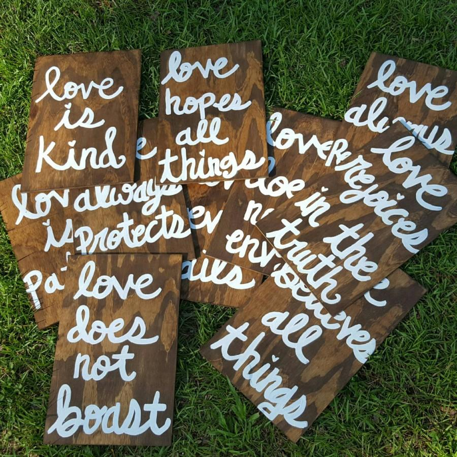Wedding - Wedding Aisle Signs, Set of 10, Corinthians 13 Signs, Love is Patient/Love is kind/Love never fails,  Rustic, Wooden Wedding Ceremony Signs