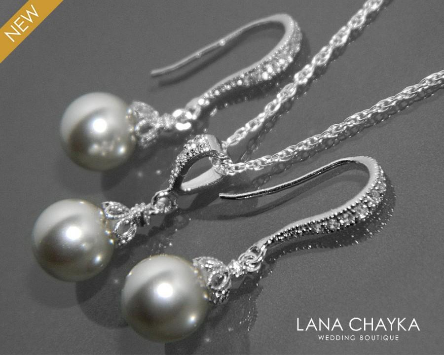 Light Grey Pearl Earrings And Necklace Set Sterling Silver Cz Drop Swarovski 8mm Wedding Jewelry