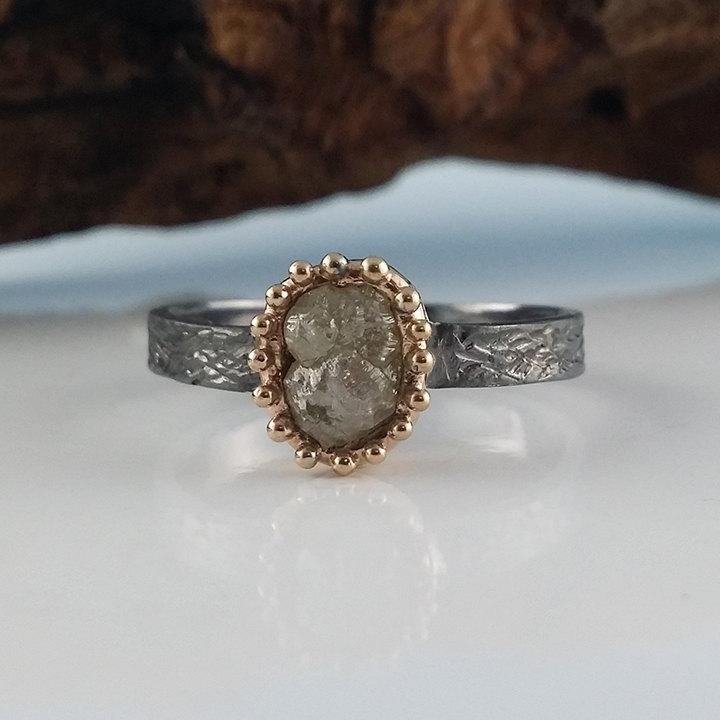 Wedding - Gun Metal Sterling Silver Textured Band a  with Rough Diamond set in 14k Gold, One of a kind Hand Sculpted by Dawn Vertrees
