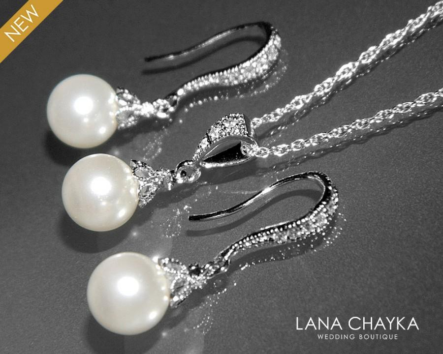 Mariage - White Pearl Earrings and Necklace Set STERLING SILVER Cz White Drop Pearl Set Swarovski 8mm Pearl Necklace&Earring Set Small Pearl Set