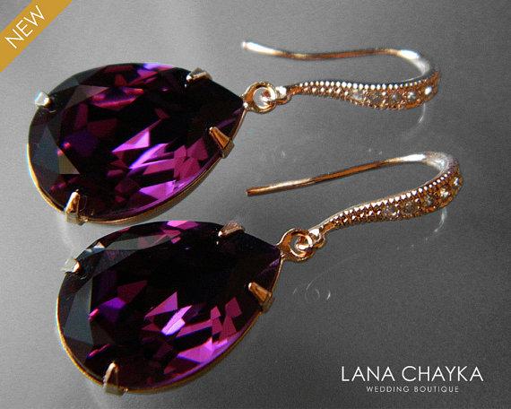 Amethyst Rose Gold Crystal Earrings Swarovski Purple Rhinestone Teardrop Dangle Wedding Jewelry