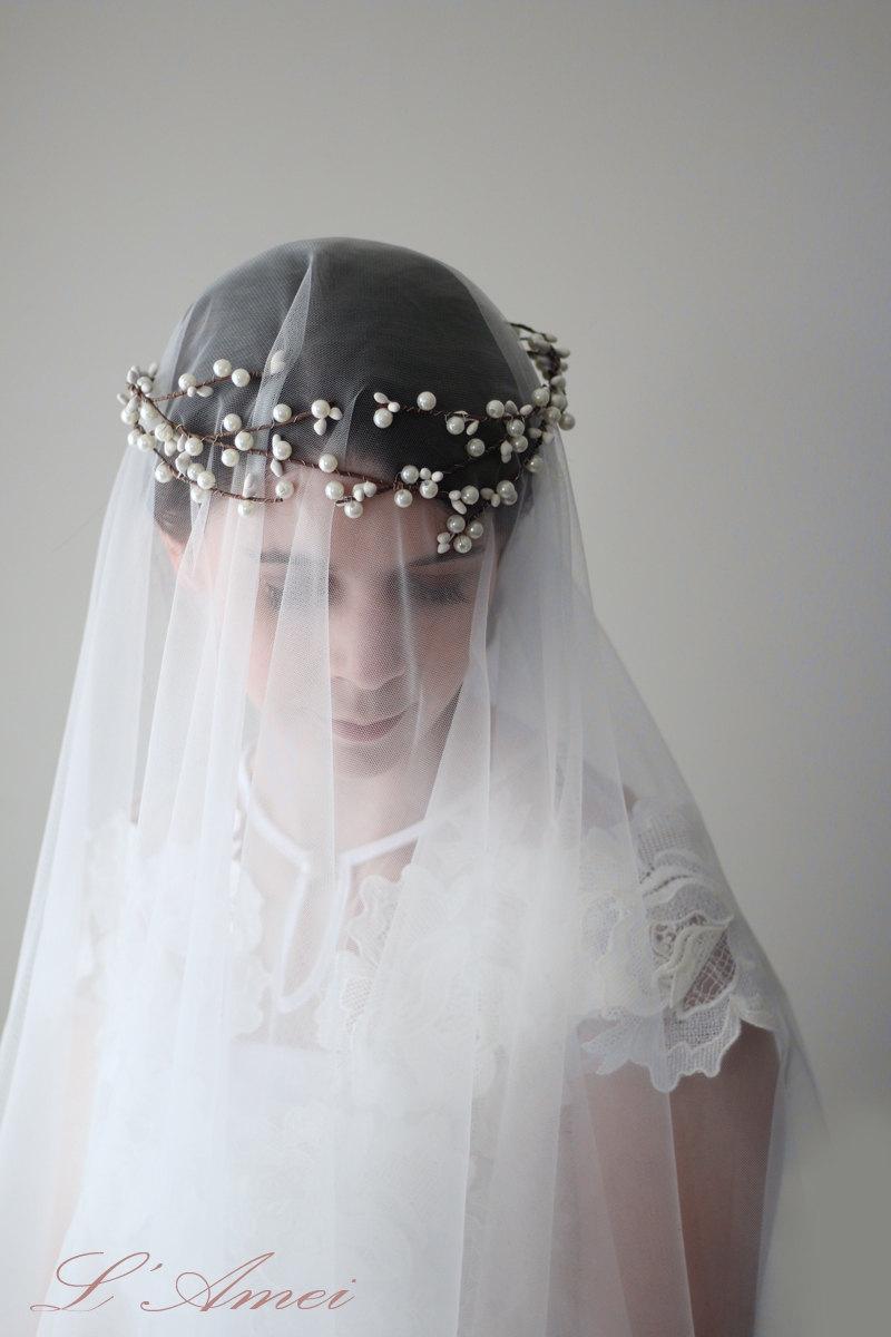 Свадьба - Glass Bridal Pearl Wedding Crown Tiara Headpiece Hair Accessories Wreath