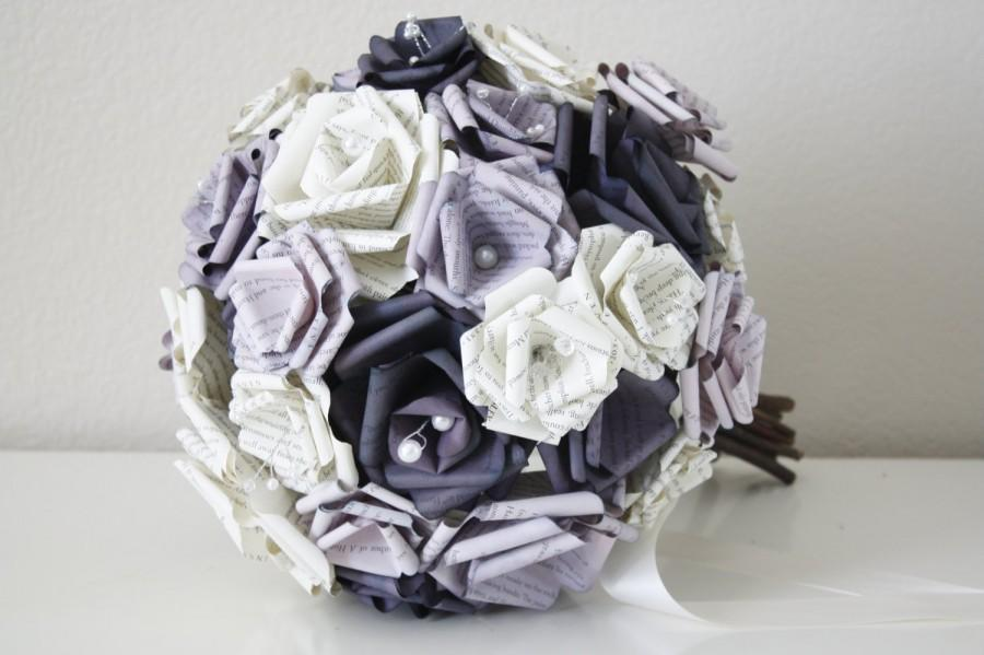 Mariage - Purple Themed Book Page Bouquet
