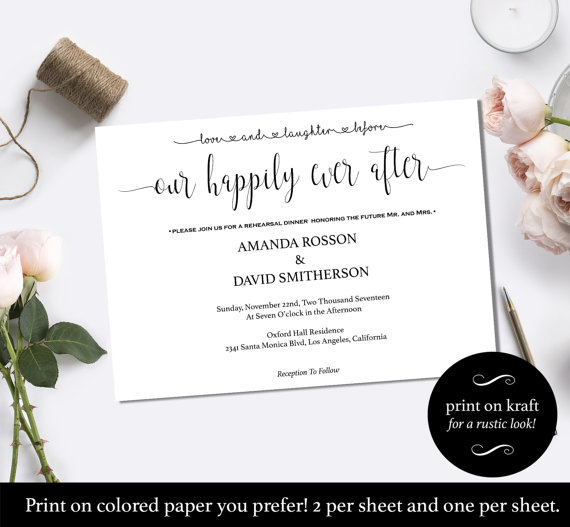 "Свадьба - Love and laughter before happily ever after invitation- ""Happily Ever After"" Wedding Invitation Instant Download"