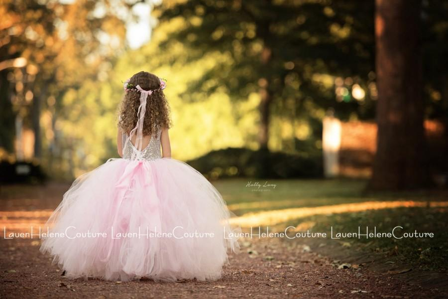 Mariage - Gold Sequin Couture Tutu Gown // Luxury Gowns // Flower Girl Tutu Dress // Marchesa Gold Sequin Gown // Princess Dress  Victorian Tea Party