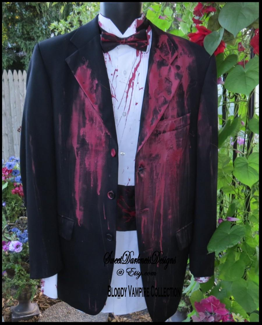 Свадьба - Bloody TUXEDO COAT Bloody Vampire Costume Waist Coat Dia de Los Muertos Costume for Men Size 40 REGULAR Corpse Groom by SweetDarknessDesigns