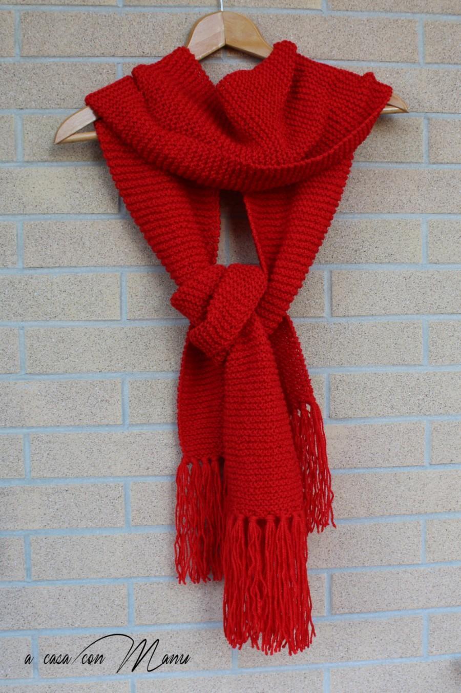 Hochzeit - Sciarpa lunga, knitted scarf, sciarpa rossa, sciarpa con frange, sciarpa a maglia, accessori invernale, regalo per lei, sciarpa fatta a mano