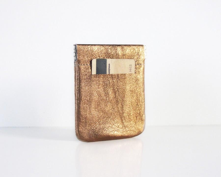 Wedding - Gold leather wallet - leather coin purse SALE women leather change purse - leather coin wallet -  small wallet - thin wallet