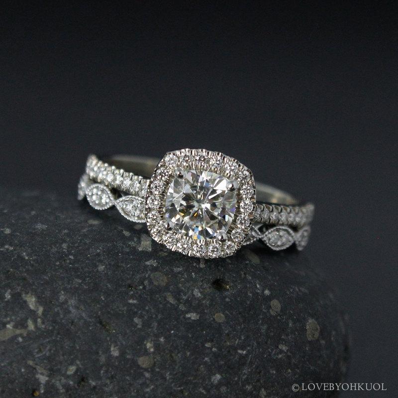 Forever Brilliant Moissanite Engagement Ring Halo Diamond Setting Leaf Milgrain Wedding Band