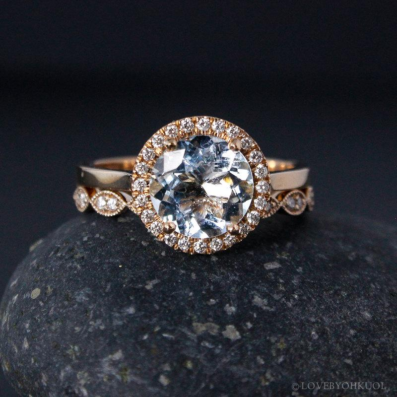 rose gold aquamarine ring milgrain leaf band non diamond engagement rings conflict free - Non Diamond Wedding Rings