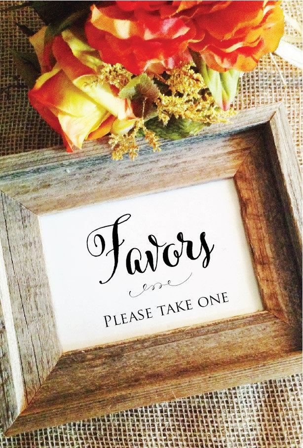 Wedding - Favors please take one sign wedding favors sign (Stylish) (Frame NOT included)