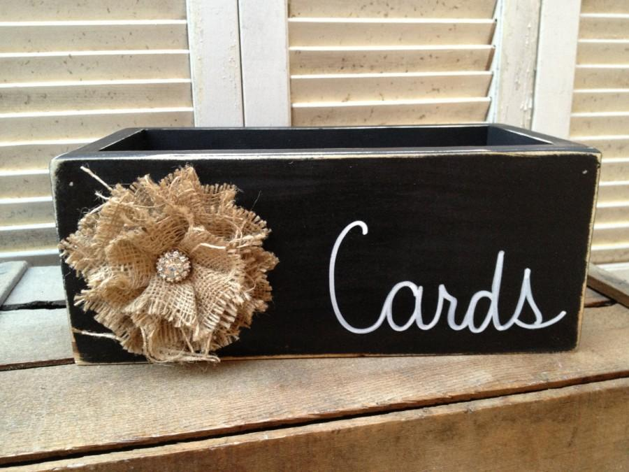 Distressed Black And White Wedding Cards Box Wooden Rustic Holder